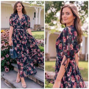 NEW Gal Meets Glam Ashlynn Floral Sheer Maxi